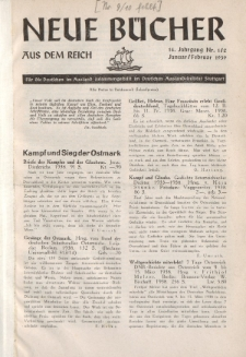 Neue Bücher aus dem Reich, 14. Jahrgang, 1939, Nr.1/2