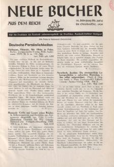 Neue Bücher aus dem Reich, 14. Jahrgang, 1939, Nr.10/12