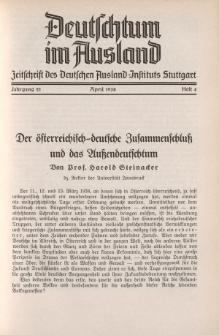 Deutschtum im Ausland, 21. Jahrgang, 1938, H.4