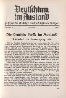 Deutschtum im Ausland, 21. Jahrgang, 1938, H.6