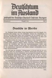Deutschtum im Ausland, 21. Jahrgang, 1938, H.8