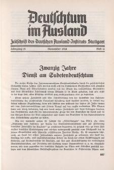 Deutschtum im Ausland, 21. Jahrgang, 1938, H.11