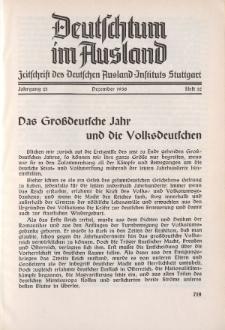 Deutschtum im Ausland, 21. Jahrgang, 1938, H.12