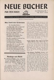 Neue Bücher aus dem Reich, 13. Jahrgang, 1938, Nr.7