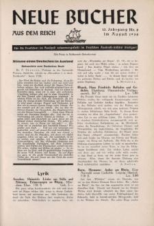 Neue Bücher aus dem Reich, 13. Jahrgang, 1938, Nr.8