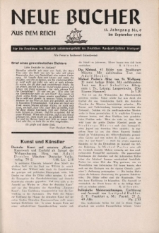 Neue Bücher aus dem Reich, 13. Jahrgang, 1938, Nr.9