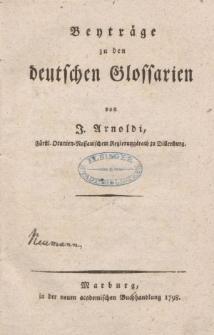 Beyträge zu den deutschen Glossarien [ … ]