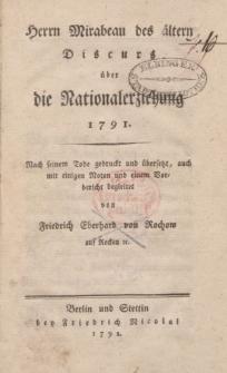 Herrn Mirabeau des ältern Discurs über die Nationalerziehung 1791 [ … ]