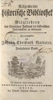 Allgemeine historische Bibliothek. Von Mitgliedern des Königlichen Instituts der historischen Wissenschaften zu Göttingen. 15 Band