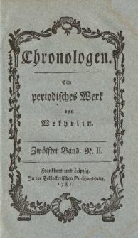 Chronologen. Ein periodisches Werk von Wekhrlin. Zwölfter Band. N. II.