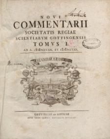 Novi commentarii Societatis Regiae Scientarum Gottingensis t. 1