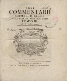 Novi commentarii Societatis Regiae Scientarum Gottingensis t. 3