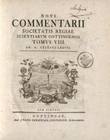 Novi commentarii Societatis Regiae Scientarum Gottingensis t. 8