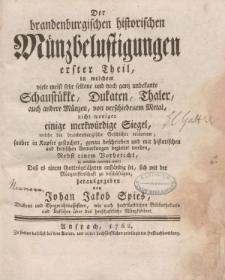Der brandenburgischen historischen Münzbelustigungen [ … ] erster Theil