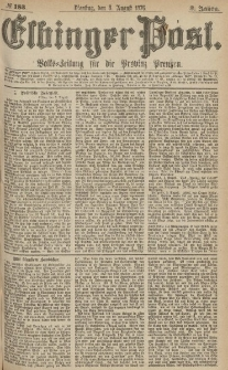 Elbinger Post, Nr.183 Dienstag 8 August 1876, 3 Jh