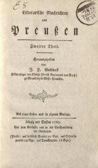Literarische Nachrichten von Preußen. Zweiter Theil