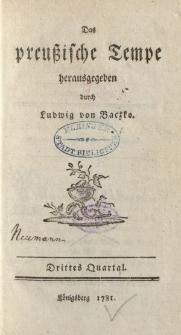 Das preußische Tempe. Drittes Quartal 1781