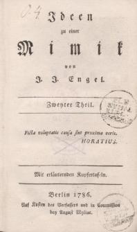Ideen zu einer Mimik von J. J. Engel. Zweyter Theil