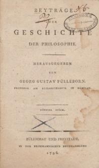 Beyträge zur Geschichte der Philosophie […] Fünftes Stück