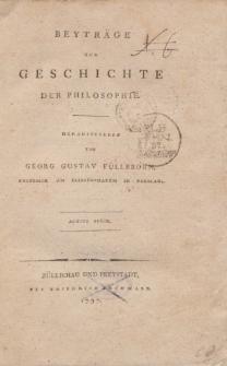 Beyträge zur Geschichte der Philosophie […] Achtes Stück