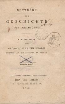 Beyträge zur Geschichte der Philosophie […] Neuntes Stück