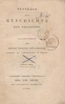 Beyträge zur Geschichte der Philosophie […] Zehntes Stück