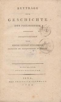 Beyträge zur Geschichte der Philosophie […] XI und XII. Stück […]