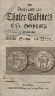 Des Vollständiges Thaler-Cabinet [ … ], 1768-1769