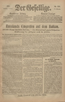 Der Gesellige, Nr. 233, Dienstag, 5. Oktober 1915
