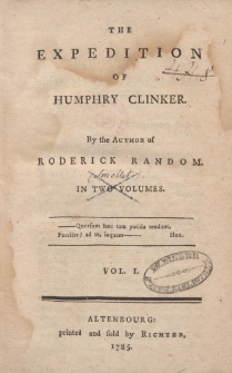 The expedition of Humphry Clinker. T. 1