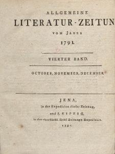 Allgemeine Literatur-Zeitung vom Jahre 1791. Vierter Band. October, November, December.