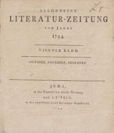Allgemeine Literatur-Zeitung vom Jahre 1794. Vierter Band. October, November, December.