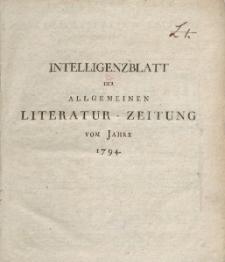 Intelligenzblatt der Allgemeinen Literatur-Zeitung vom Jahre 1794. Numero 1-148.