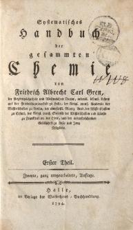 Systematisches Handbuch der gesammten Chemie von Friedrich Albrecht Carl Gren [… ] Erster Theil