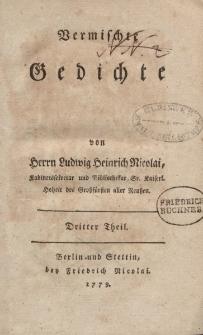 Vermischte Gedichte von Herrn Ludwig Heinrich Nicolai […] Dritter Theil