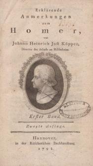 Erklärende Anmerkungen zum Homer, von Johann Heinrich Just Köppen […] Erster Band […]