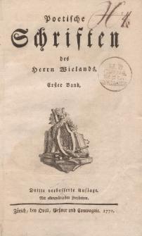 Poetische Schriften des Herrn Wielands. Erster Band