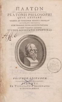 ΠΛΑΤΩΝ Platonis Philosophi quae exstant graece […] volumen secundum