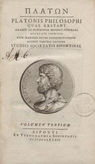 ΠΛΑΤΩΝ Platonis Philosophi quae exstant graece […] volumen tertium