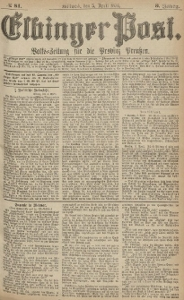 Elbinger Post, Nr.81 Mittwoch 5 April 1876, 3 Jh