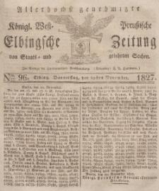 Elbingsche Zeitung, No. 96 Donnerstag, 29 November 1827