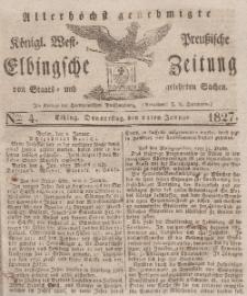 Elbingsche Zeitung, No. 4 Donnerstag, 11 Januar 1827
