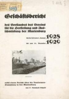 Geschäftsbericht des Vorstandes des Vereins für die Herstellung und Ausschmückung der Marienburg für die Zeit vom 1. Januar ...
