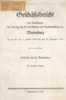 Geschäftsbericht des Vorstandes des Vereins für die Herstellung und Ausschmückung der Marienburg für die Zeit vom 1.J.1930...