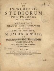 De incerementis studiorum per Polonos ac Prussos...