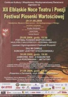 XII Elbląskie Noce Teatru i Poezji. Festiwal Piosenki Wartościowej