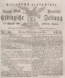 Elbingsche Zeitung, No. 36 Montag, 3 Mai 1824