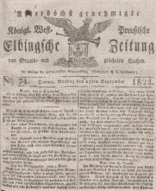 Elbingsche Zeitung, No. 74 Montag, 13 September 1824