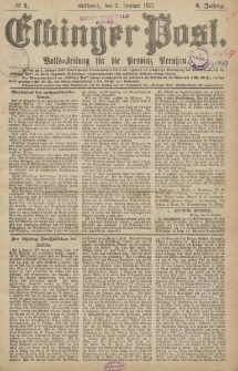 Elbinger Post, Nr.1 Mittwoch 3 Januar 1877, 4 Jh