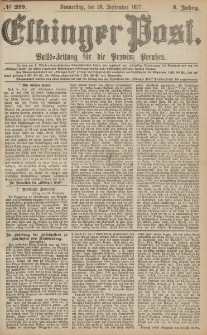 Elbinger Post, Nr.219 Donnerstag 20 September 1877, 4 Jh